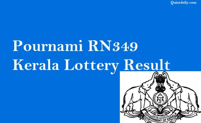 Pournami RN349 Kerala Lottery Result 22.7.2018